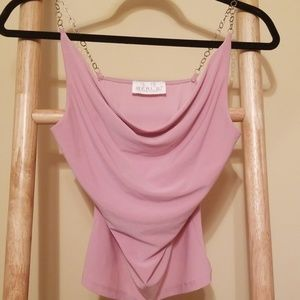 Geri C soft pink cami with chain straps.  A4195